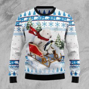 Polar Bear Star Xmas Ugly Christmas Sweater