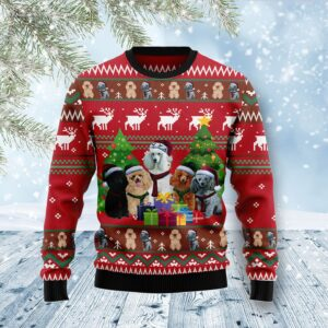 Poodle Family Snow DNA Ugly Christmas Sweater