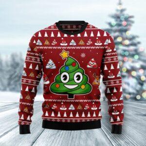 Poop Christmas Tree Emoji Funny Ugly Christmas Sweater