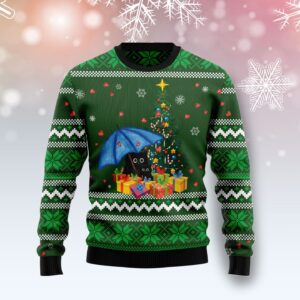 Rain With Love Black Cat Ugly Christmas Sweater