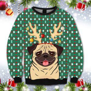 Reindeer Pug Christmas All Over Print Ugly Christmas Sweater