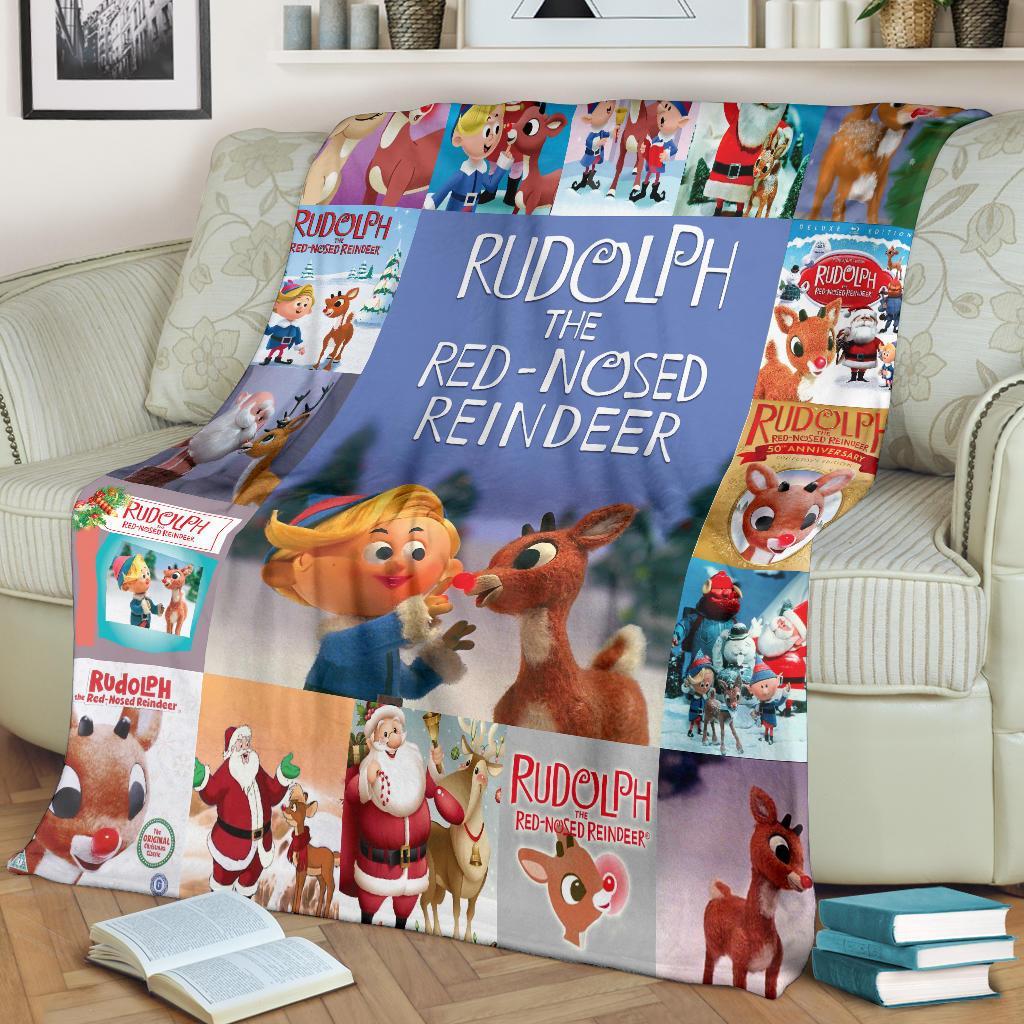 Rudolph The Red Nosed Reindeer Fleece Blanket