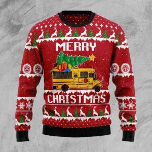 School Bus Merry Christmas Ugly Christmas Sweater