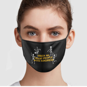 Skeleton Dancing Trick Or Treat People With Kindness Face Mask