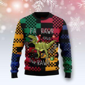 T Rex Rawr Rawr Rawr Christmas Ugly Christmas Sweater