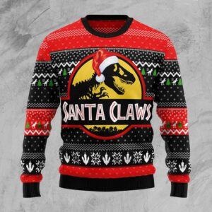 T Rex Santa Claws Ugly Christmas Sweater
