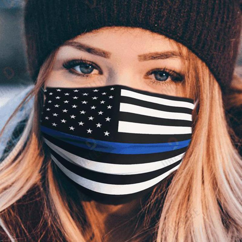 Thin Blue Line Usa Flag Face Mask