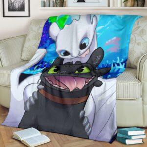 Toothless And Light Fury Fleece Blanket