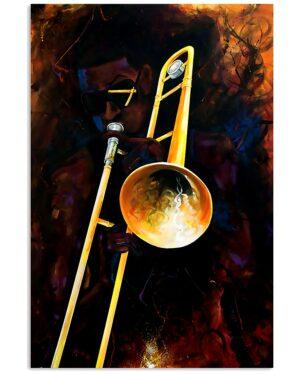 Trombonist Man Playing Trombone Poster