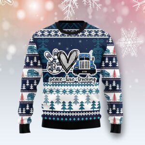 Truck Peace Love Ugly Christmas Sweater
