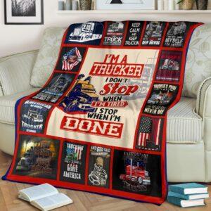 Trucker Done Fleece Blanket