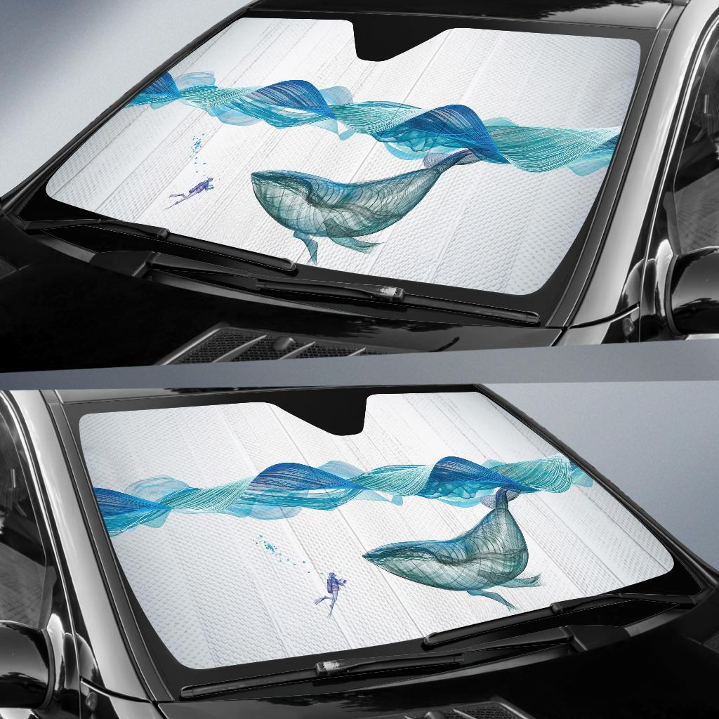 Underwater Whale Waves Horse Car Sun Shade