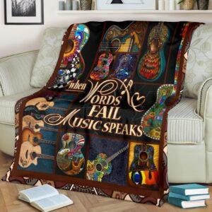When WordsFail Music Speakss Guitar Love Fleece Blanket