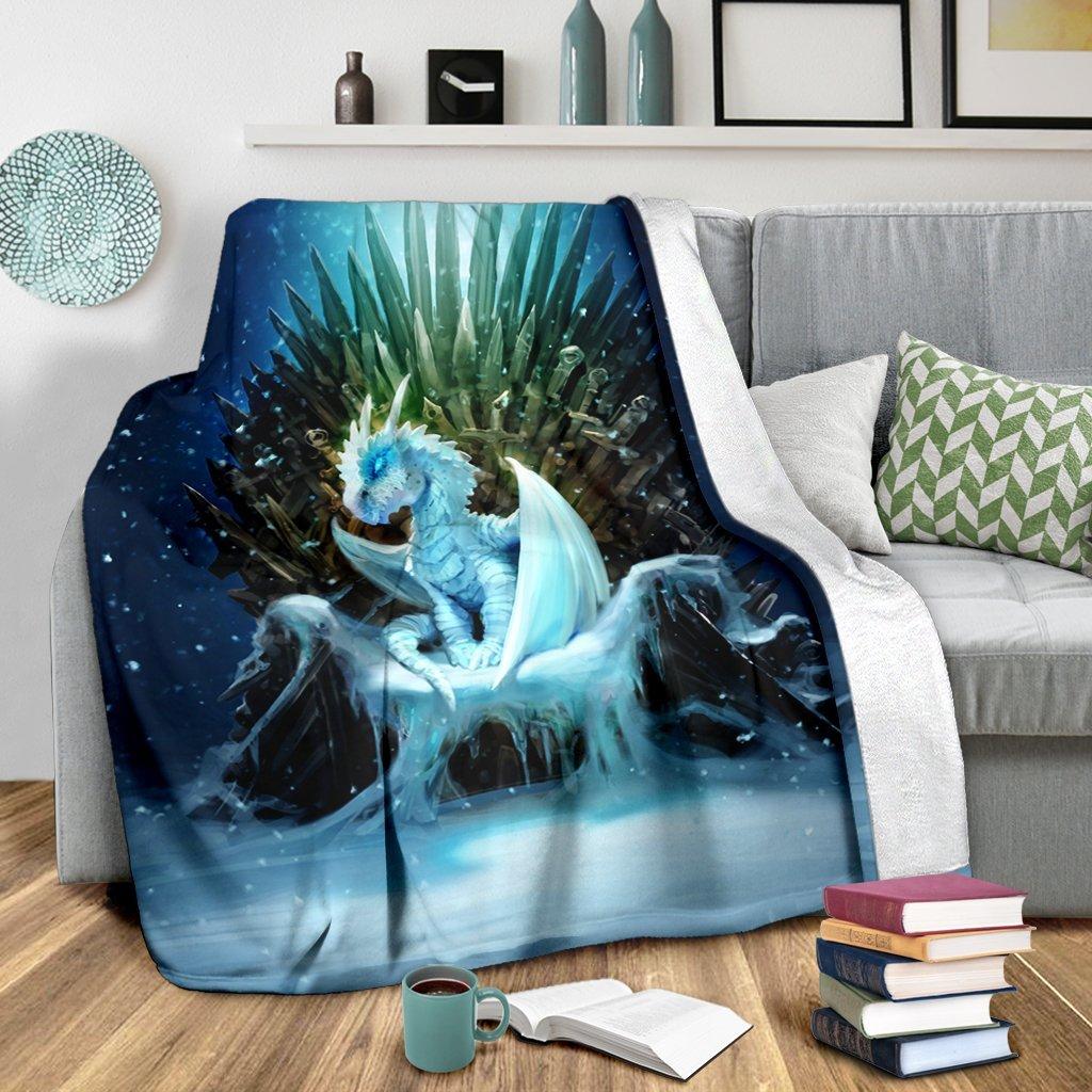White Walker Ice Dragon Fleece Blanket