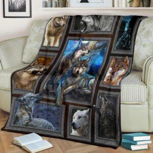 Wolf Light Blue White Fleece Blanket