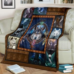 Wolf With Wings Fleece Blanket