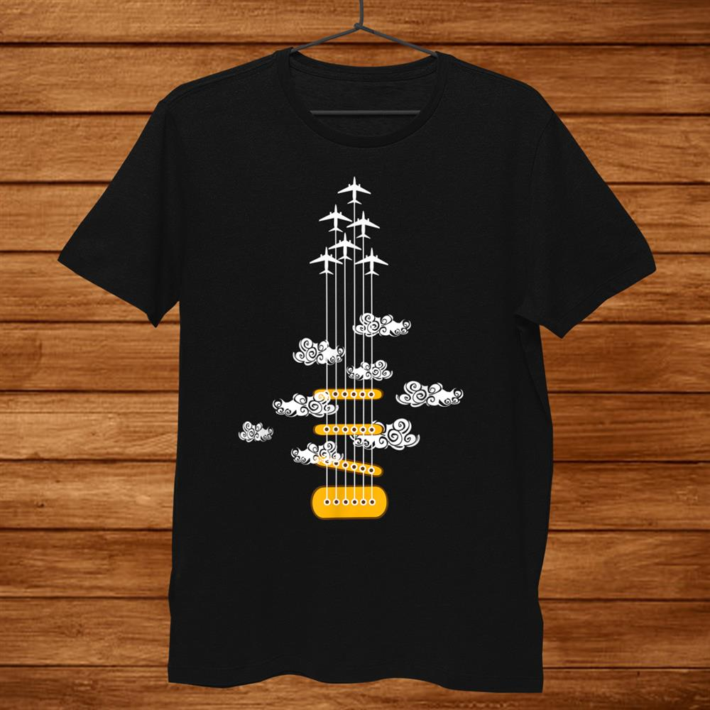 Airplane Guitar Shirt. Retro Style Shirt