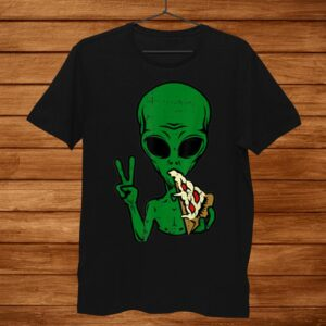 Alien Pizza Eating Peace Funny Space Area1 Halloween Shirt