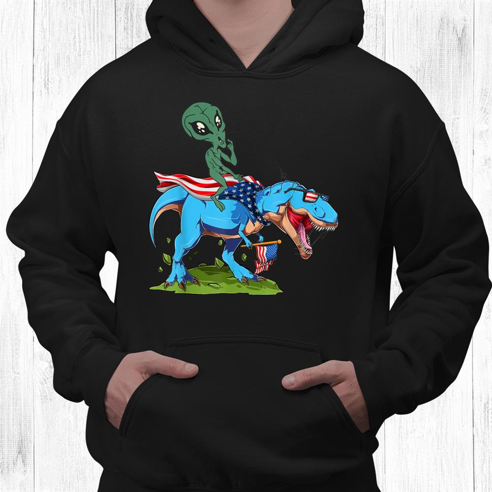 Alien Riding Dinosaur Usa Flagth Of July America Shirt