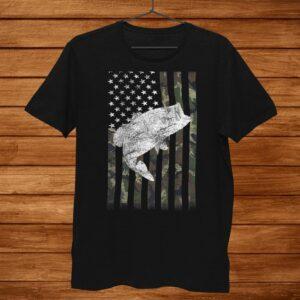 American Camouflage Usa Flag Bass Fishing Fisherman On Back Shirt