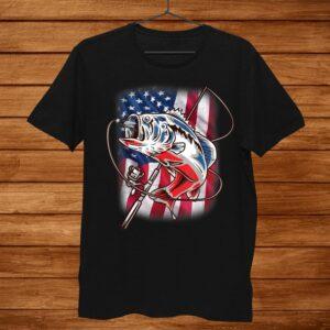 American Flag Fishing Shirt Vintage Usa Bass Fisherman Shirt
