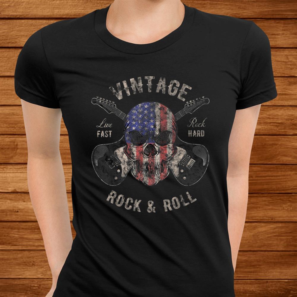 American Flag Guitar Vintage Rock And Roll Skull Guitarist Shirt