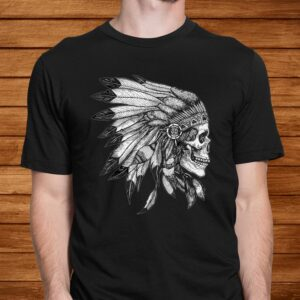 american motorcycle skull native indian eagle chief vintage t shirt Men 2