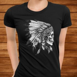 american motorcycle skull native indian eagle chief vintage t shirt Men 3