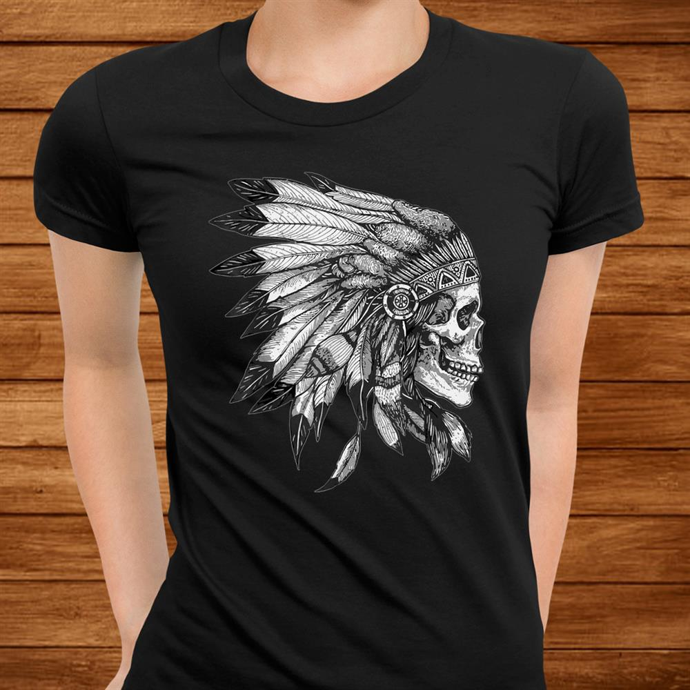 American Motorcycle Skull Native Indian Eagle Chief Vintage Shirt