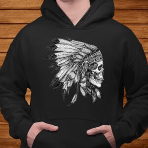 american motorcycle skull native indian eagle chief vintage t shirt Men 4
