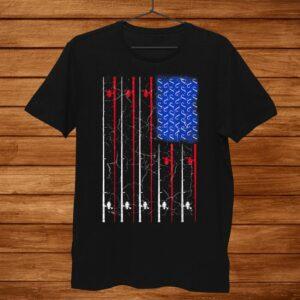 American Us Flag Fishing Rod Shirt Fisherman Gift For Him Shirt