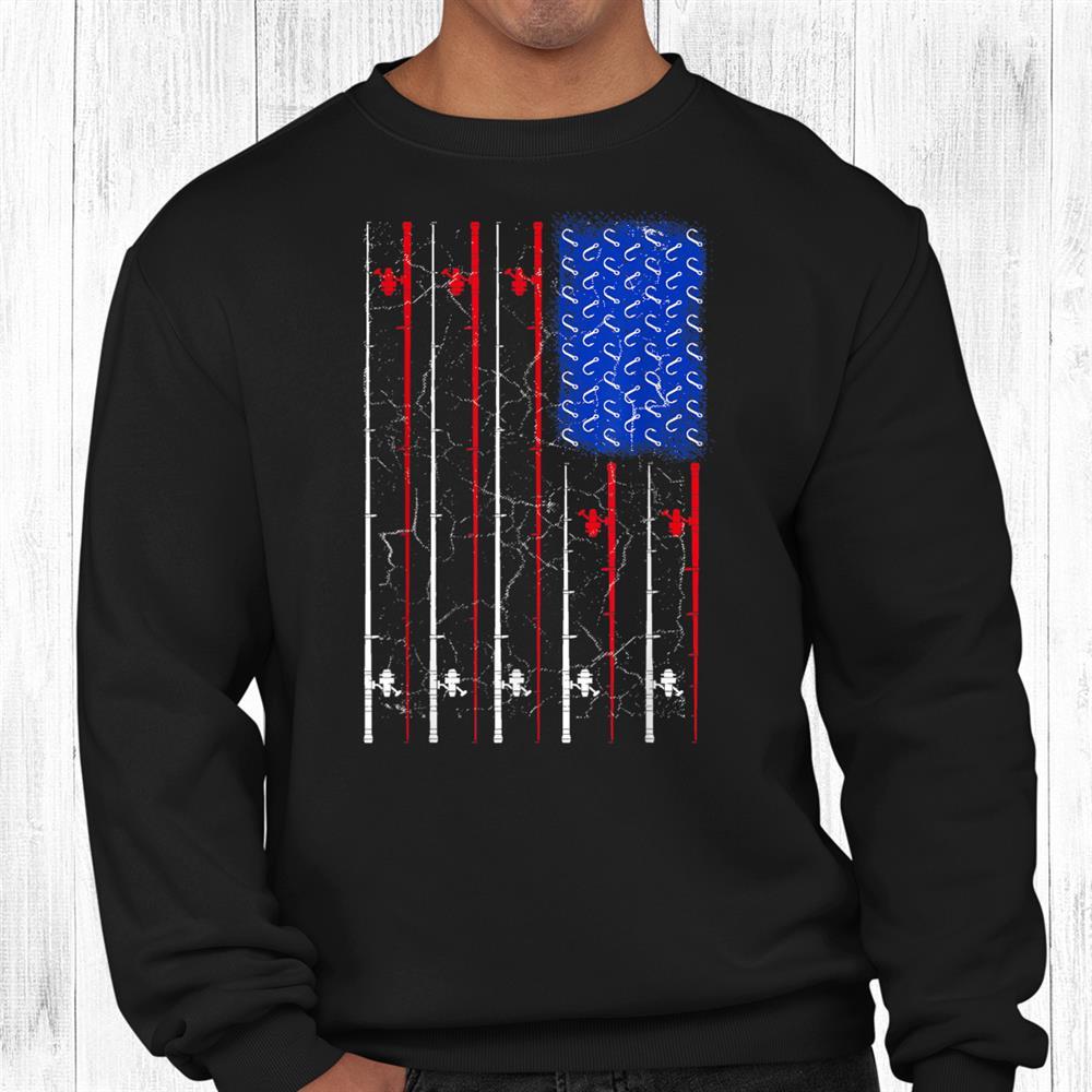 American Us Flag Fishing Rod Shirt Fisherman Top For Him Shirt
