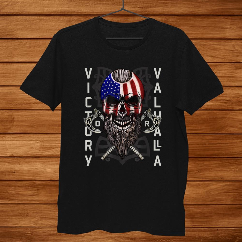 American Viking Victory Valhalla Axeand & Skull Flag Shirt