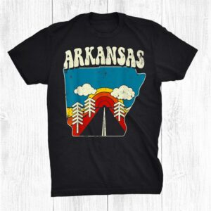 Arkansas Vintage State Rainbow Hippie Retro 70s Map Shirt