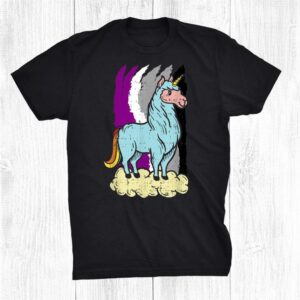 Asexual Lama Unicorn Pride Support Asexuality Lgbtq Shirt