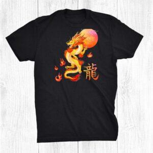 Asian Dragon And Sun Oriental Chinese Art Orange Design Shirt