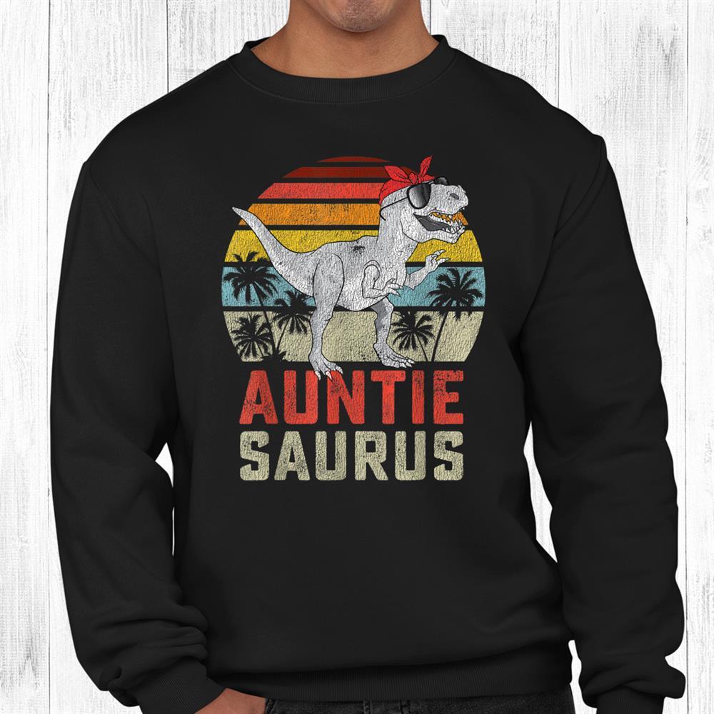 Auntiesaurus T Rex Dinosaur Auntie Saurus Family Matching Shirt