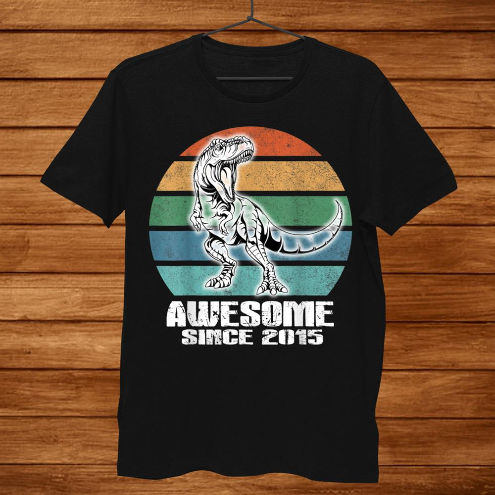 Awesome Since015 Dinosaurth Birthday Years Old Kids Shirt