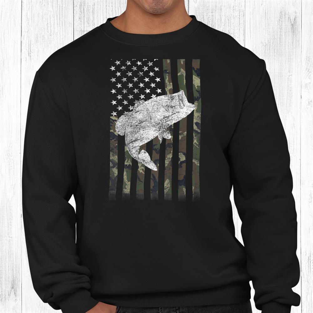 Bass Fishing American Camo Usa Flag For Fisherman On Back Shirt