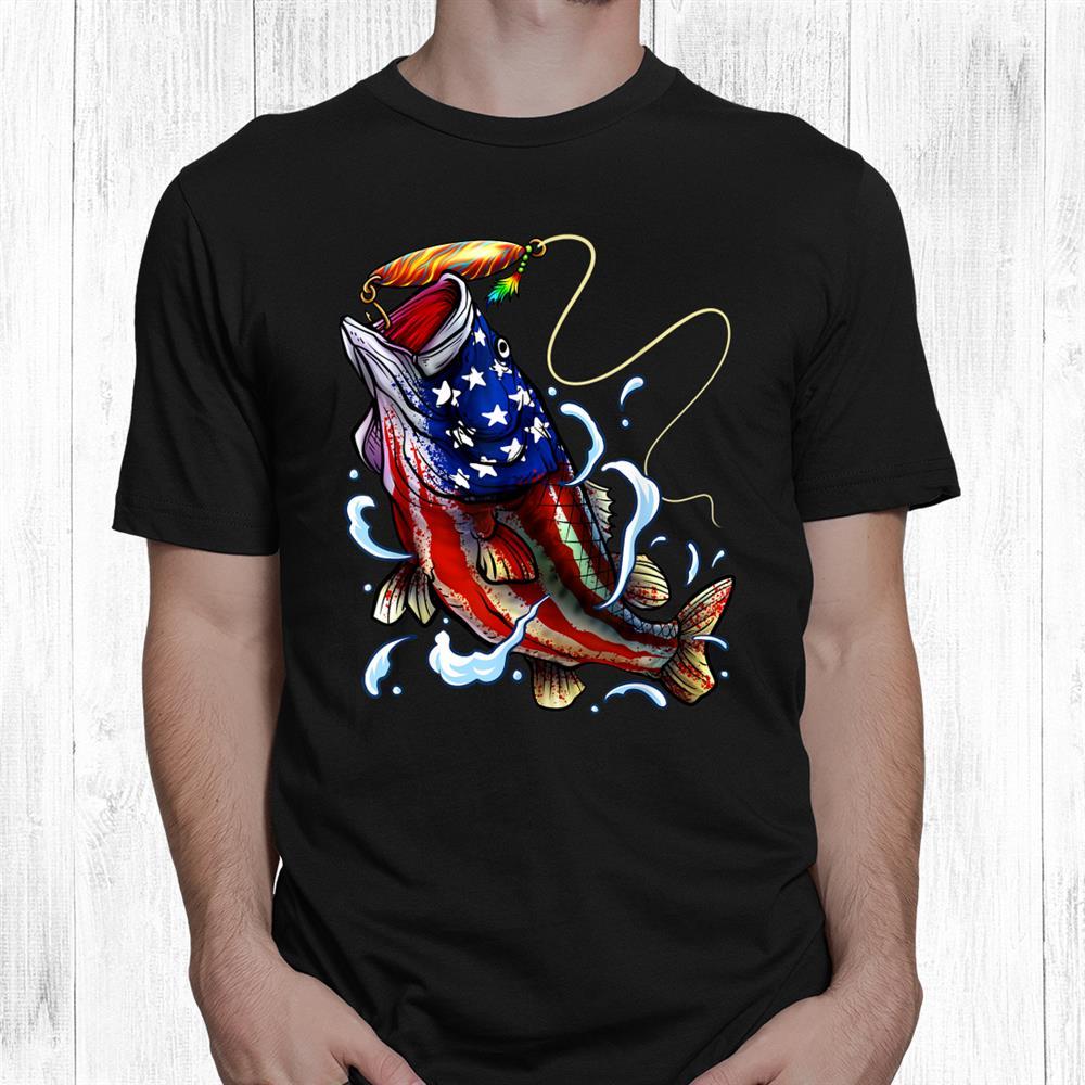 Bass Fishing Fish American Flag Patriotic Fourth Of July Shirt