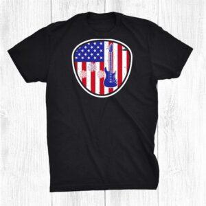 Bass Guitar Flag Usa Pattern Tshirts 4th Of July Holiday Shirt