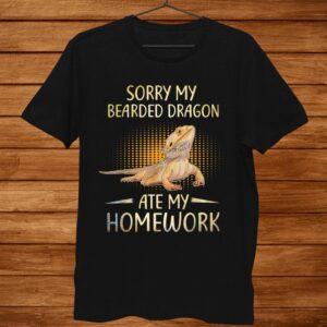 Bearded Dragon Cute Lizard Gift Beardie Ate My Homework Shirt