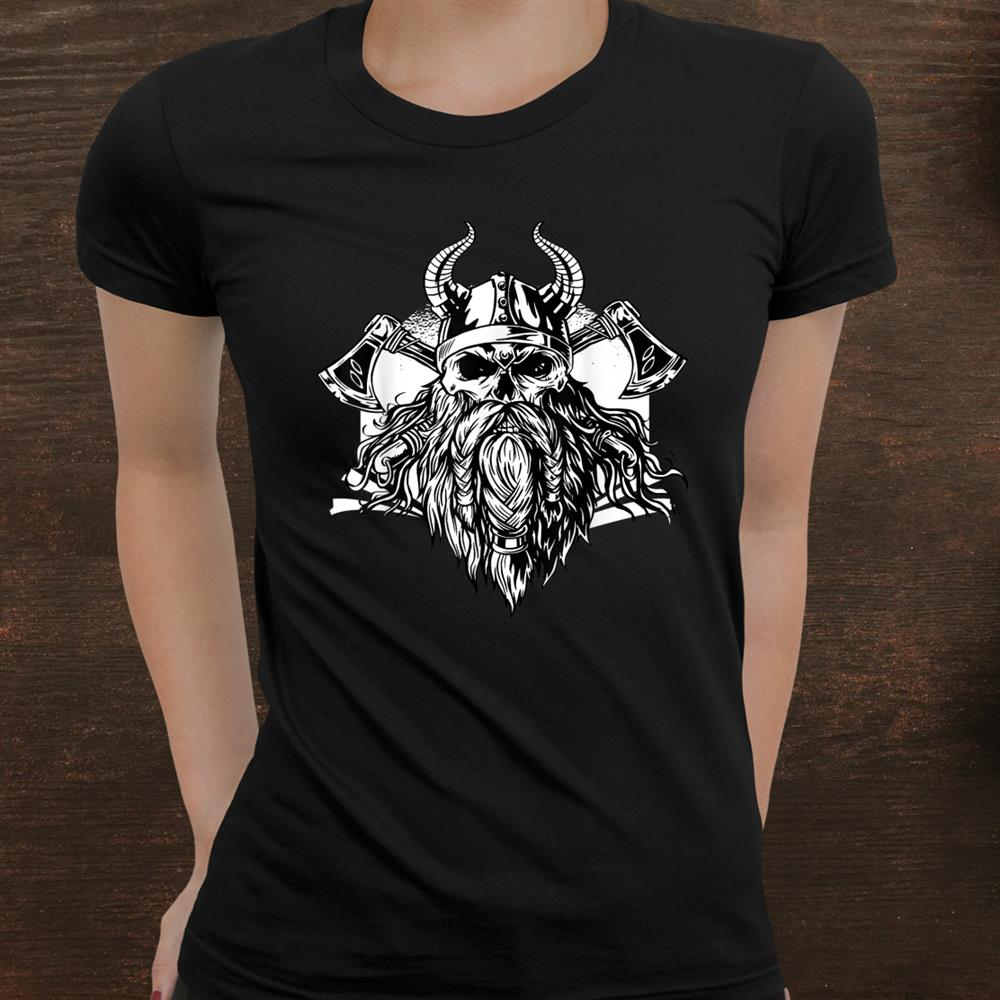 Bearded Viking Design Of A Skull With Two Axes And A Helmet Shirt