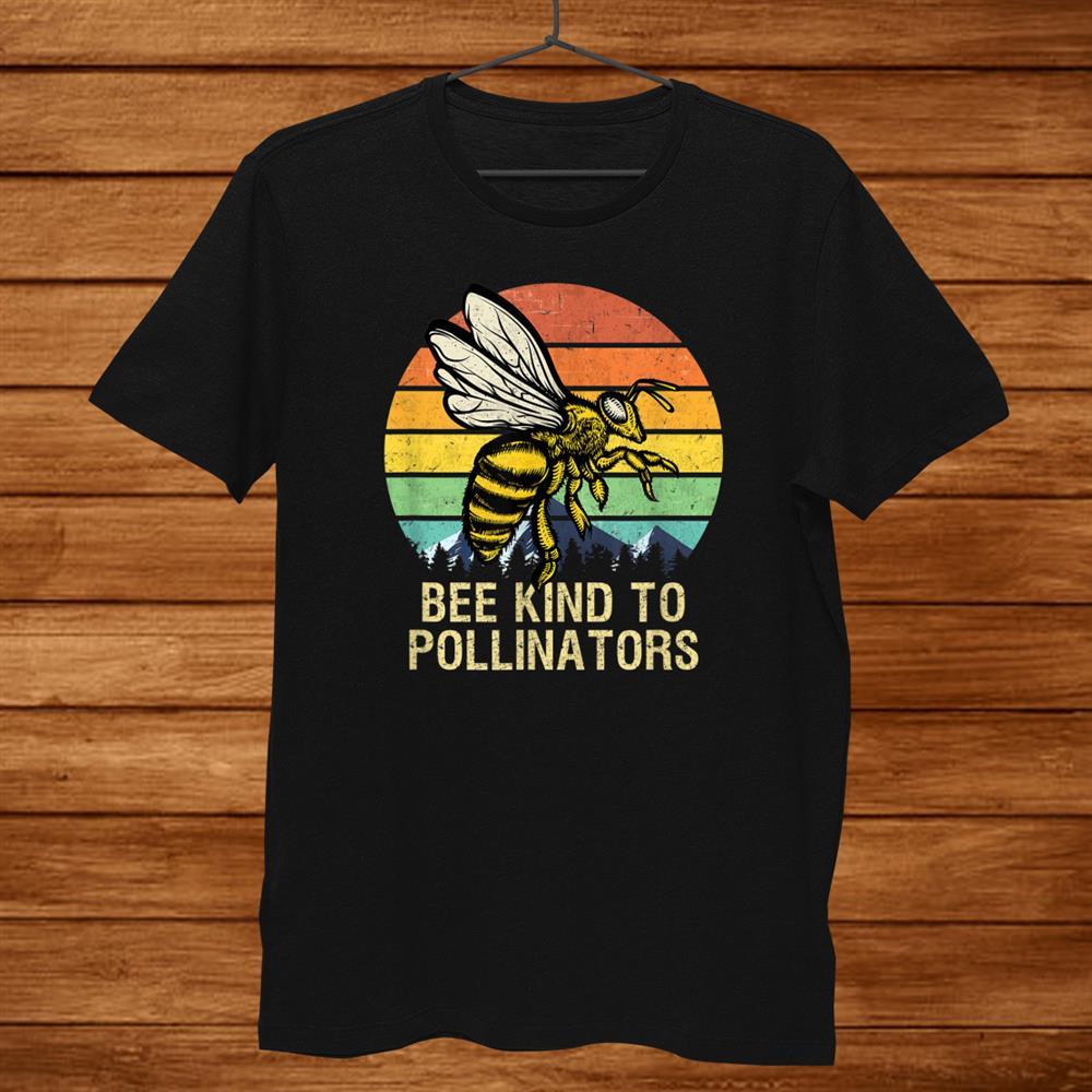 Bee Kind To Pollinators Honey Bee With Retro Sunset Shirt