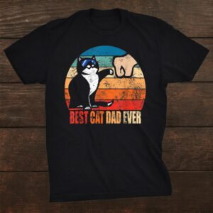 Best Cat Dad Ever Paw Fist Bump Funny Shirt
