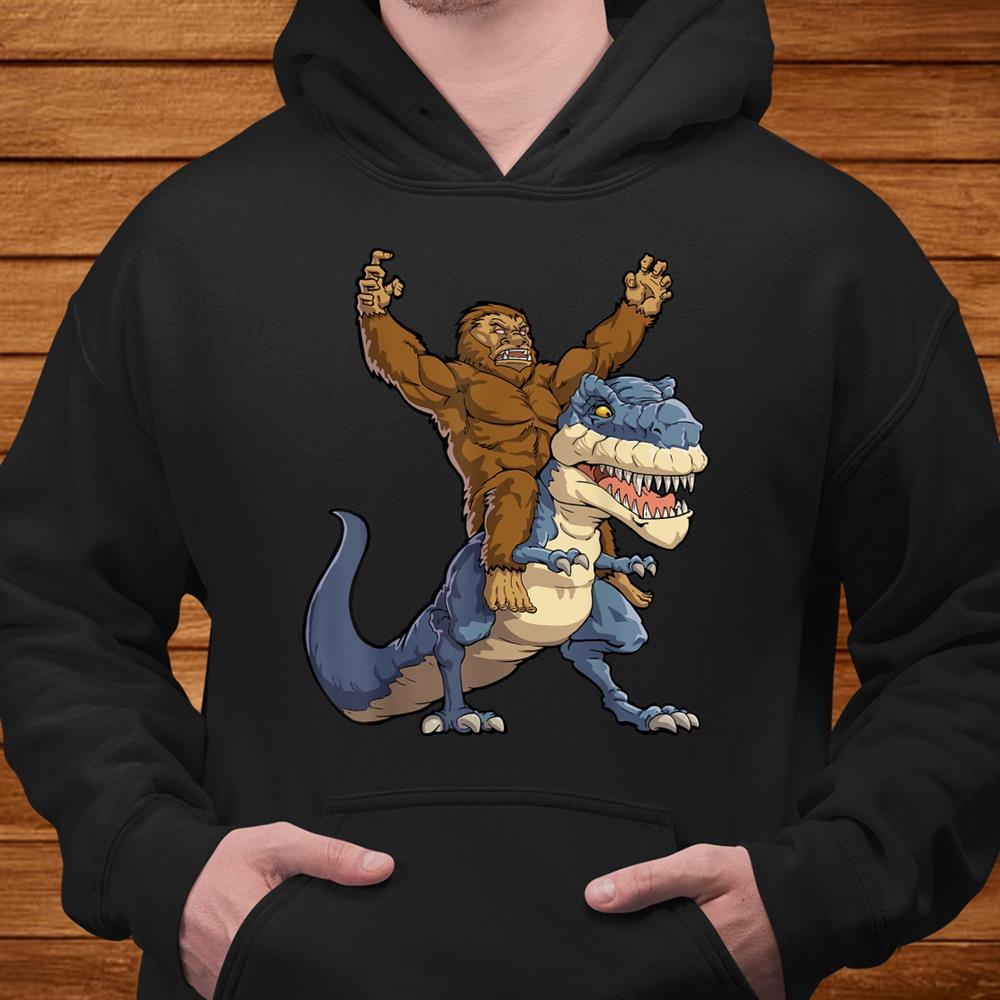 Bigfoot Sasquatch Riding Dinosaur T Rex Shirt Funny Shirt