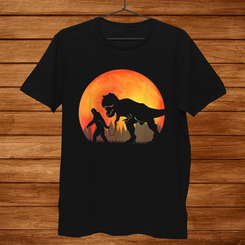 Bigfoot Walking Dinosaur Tyrannosaurus T Rex Full Moon Shirt