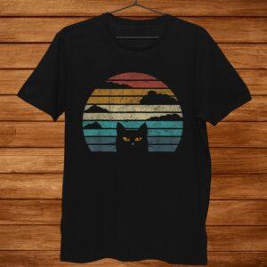 Black Cat Face Retro Vintage Sunset Halloween Costume Shirt