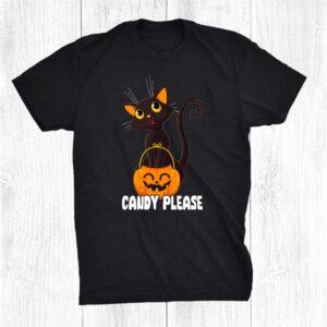 Black Cat Trick Or Treat Candy Please Cute Halloween Shirt