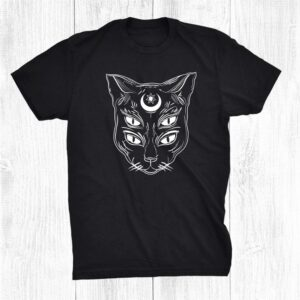 Black Cat Wiccan Moon Pagan Occult Gothic Witch Halloween Shirt